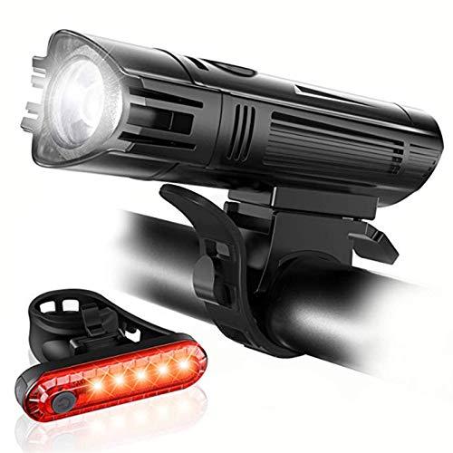 LDH Juego de Luces para Bicicleta 15000 Lúmenes T6 LED Luz de Bicicleta Impermeable USB Recargable Luces Delanteras LED para Bicicleta con Luz Trasera