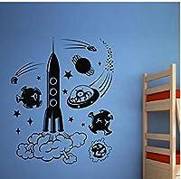 ロケット宇宙船取り外し可能な壁紙ステッカー子供部屋男の子寝室ビニールウォールステッカープレイルーム趣味ポスターアート装飾57X71cm
