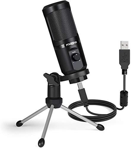 PC Mikrofon mit, Maono PM461TR Gain-Regler USB Nieren Kondensator Mikrofon mit Stativ, Computer Microphone für YouTube, Podcast, Aufnahme, Recording, Gesang, Spiele, Streaming