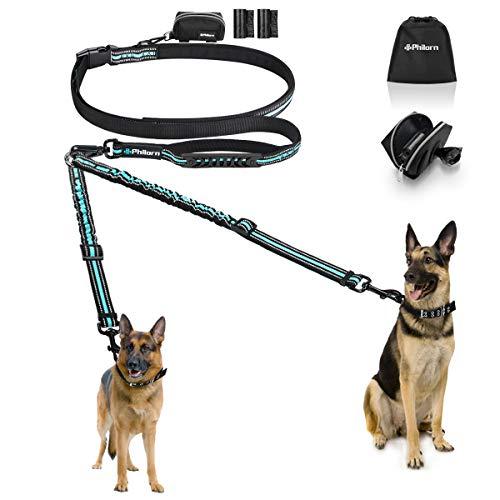 PHILORN Freihand Hundeleine für 2 Hunde (110 lbs) - Ablösbar & Reflektierend & 66-84in Einstellbar - Stoßdämpfend Führleine Hund, Freihandleinen, Keine Verwicklung Doppelleine mit 2 Griffe, Hüfttasche