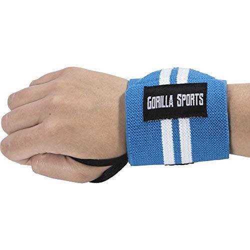 GORILLA SPORTS Handgelenk-Bandagen (2er Set) Wrist Wraps 30cm - Profi Handgelenkstütze Fitness, Bodybuilding, Cross Training, Krafttraining Farbe Blau/Weiß