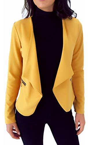 dmarkevous - chaqueta de las mujeres, los blazers, las medias mangas cortas, elegantes, vestidas, para la boda, fiesta, oficina -