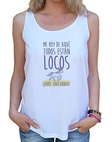 latostadora - Camiseta Arre Unicornio para Mujer Blanco M