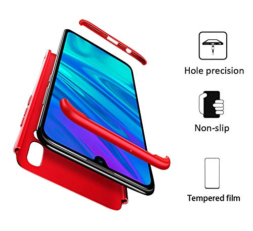 GoodcAcy Coque Huawei P Smart Plus 2019,[360 degrés Protection] + Écran Verre Trempé 3 en 1 Ultra Étui Housse PC Bumper Simple Élégant Cover Étuis pour Huawei P Smart Plus 2019 Rouge