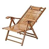 FACAZ Silla Plegable reclinable de bambú Mecedora de Madera Maciza - Sillas reclinables con Respaldo de Gravedad Cero, sillón de Patio Ajustable