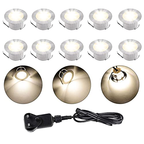 Faretto da incasso a LED, 10 pezzi, IP67, impermeabile, 3200 K, luce bianca calda, DC 12 V, 32 mm, per scale da cucina, balcone, terrazzo