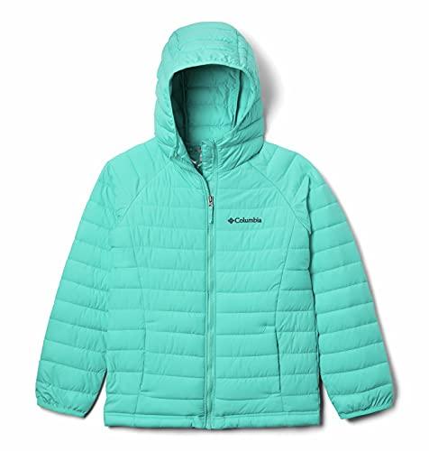 Columbia Youth Girls Powder Lite Hooded Jacket, Dolphin, Medium