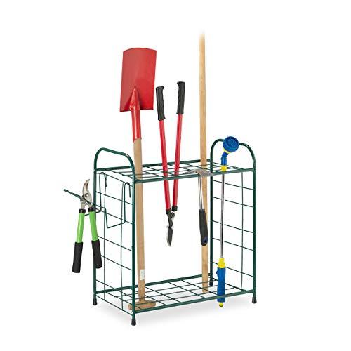 Relaxdays Gartengerätehalter, Aufbewahrung von Spaten, Rechen & Besen, Ordnung, Geräteständer HBT: 68 x 80 x 35 cm, grün