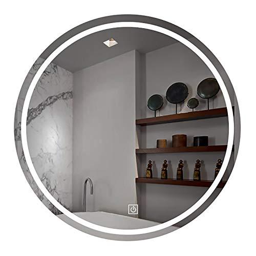 GETZ Espejo de Baño LED Redondo, Espejo de Baño Moderno con Interruptor Táctil y Función de Atenuación, 3 Colores de Luz, IP44