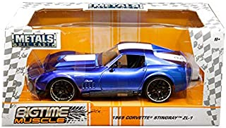 New DIECAST Toys CAR JADA 1:24 W/B - Metals - Bigtime Muscle - 1969 Chevrolet Corvette Stingray ZL-1 (Blue) 30532-MJ