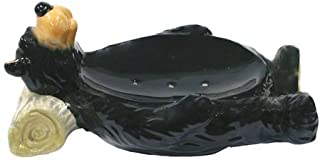 Ceramic Bear Bar Soap Holder Dish Plate Tray, 6-inch, Cabin Bathroom Decor