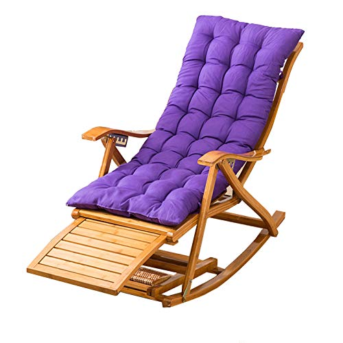 XEWNEGTZI Outdoor Sun Lounger Adjustable Bamboo Rocking Chair, With Footrest And Summer Ventilation, For Garden Balcony Swimming Pool Deck Chair, Load 200kg(Color:Chair+purple cushion)