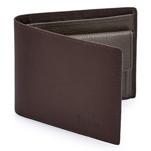 Newhey Cartera Hombre Cuero Billetera RFID Bloqueo Monedero Tarjetas Crédito Moda con Bolsillo Monedas Marrón