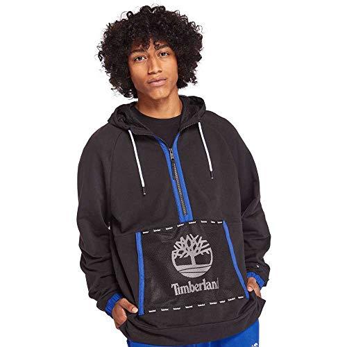 Timberland Mesh Mix Media Pullover Hoodie Sweatshirt Black MD