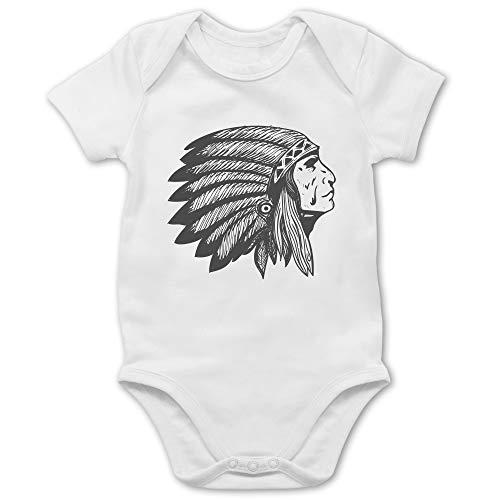 Shirtracer Up to Date Baby - Indianer Häuptling Handzeichnung - 1/3 Monate - Weiß - Indianer - BZ10 - Baby Body Kurzarm für Jungen und Mädchen