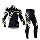 Fitsund Conjunto de ropa de ciclismo de manga larga para hombre, camiseta de ciclismo (chaqueta de manga larga y pantalón de ciclismo con acolchado en el asiento 3D), talla M, color negro