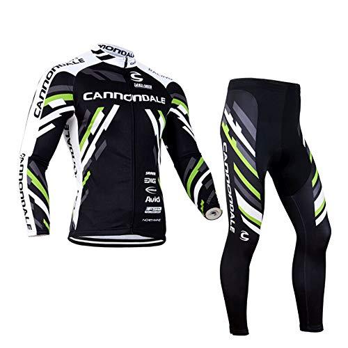 Fitsund Herren Fahrradbekleidung Set Langarm Radtrikot Fahrrad Trikot (Radjacke Langarm und Fahrradhose mit 3D Sitzpolster) (XL, Schwarz)