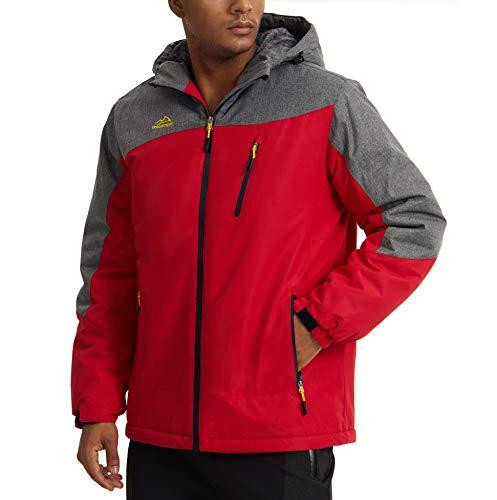 KEFITEVD Chaqueta de invierno cálida para hombre, resistente al agua, forro polar, con capucha, chaqueta de esquí, resistente al viento, para exteriores rojo S