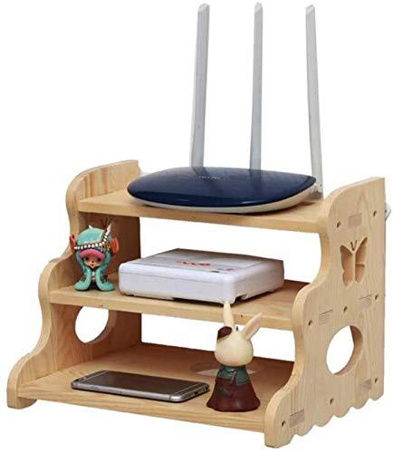 GJJSZ Rack de enrutador Establecer Caja Superior Montaje en Pared Rack Flotante WiFi Router Caja de Almacenamiento de Madera Maciza Montado en la Pared Estante (Color : Three Layers of Wood)