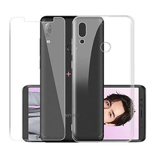 """JIENI Funda para Lenovo K5 Pro Transparente Suave Silicona TPU Cover Caso Bumper Carcasa Case + Cristal Templado Vidrio Protector de Pantalla para Lenovo K5 Pro (5.99"""") - Clear"""