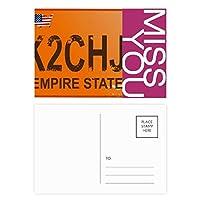 車の免許は米国の番号のパターン ポストカードセットサンクスカード郵送側20個ミス