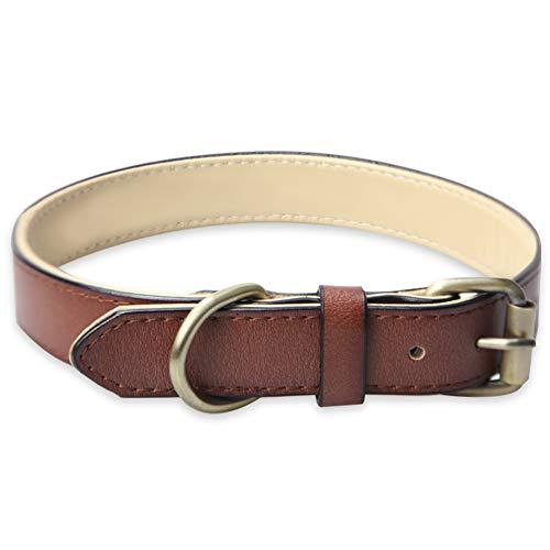 Verstellbar Echtes Hundehalsband aus Weichem Leder, Gepolstert am Besten für Kleine Mittel Grosse Hunde Großer Rassen Halsbänder (L, Braun)