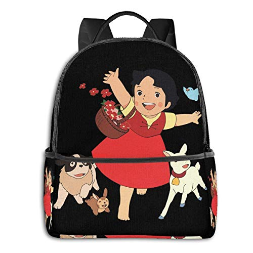 IUBBKI Schwarzer Seitenrucksack Lässige Tagesrucksäcke Anime & Heidi,The Girl From The Alps Classic Student School Bag School Cycling Leisure Travel Camping Outdoor Backpack