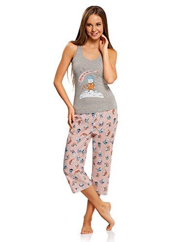 oodji Ultra Mujer Pijama con Pantalones y Estampado Gato, Gris, ES 36 / XS