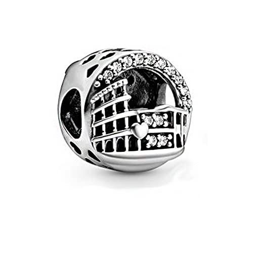 Pandora 925 Colgante de plata esterlina DIY Fit Original Pandora Charm Pulseras de plata esterlina Coliseo Roma Calado Charms Perlas Mujeres Joyería
