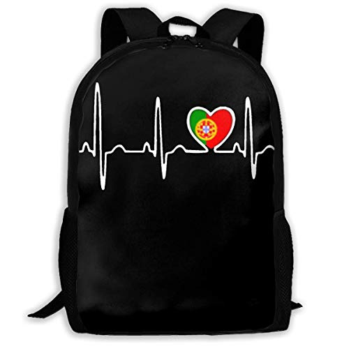 TRFashion Sac à Dos Portugal Flag Heartbeat Fashion Outdoor Shoulders Bag Durable Travel Camping for Kids Backpacks