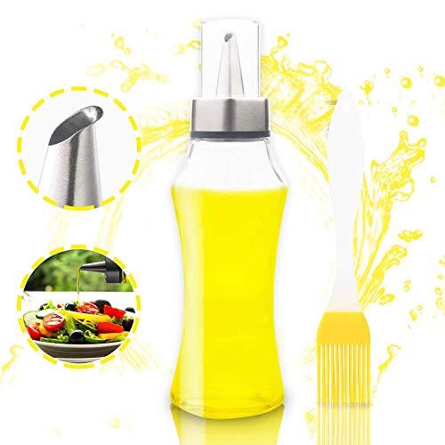 JIPRENS Ölflasche Glas Ölspender Olivenöl Flasche 400ML zum Kochen 4 in 1 Nachfüllbare Öl- und Essigspender Flasche mit Backpinsel zum Grillen,Kochen,Backen,Braten,Auslaufsicher und Spülmaschinenfest