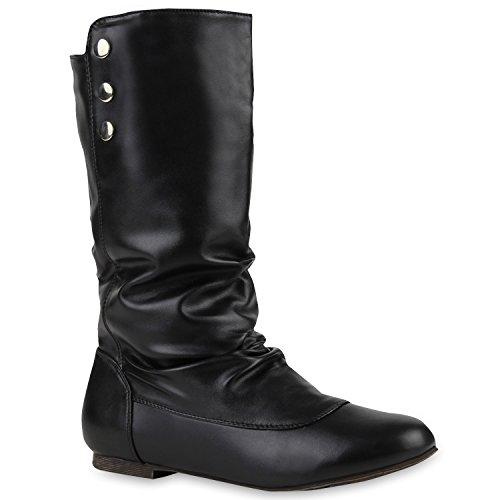 Bequeme Flache Damen Stiefel Hochschaft Stiefeletten Schuhe 110690 Schwarz 38 Flandell