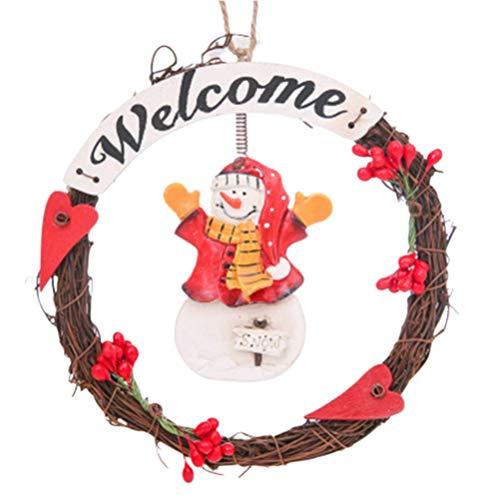 VOSAREA ghirlanda natalizia ciondolo delicato ciondolo appeso anello festa di natale ghirlanda ciondolo per negozio ktv bar (pupazzo di neve con sciarpa gialla)