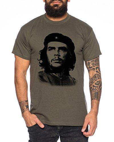 WhyKiki Che Guevara Camiseta de Hombre Cuba Comandante, Farbe2:Khaki;Größe2:XL