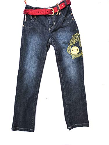 Pampolina Mädchen Jeans mit Gürtel und Stickerei 2101160 (122, Denim Blue)