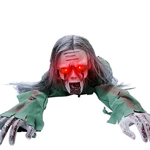 Joliyoou Halloween Decoration, 43.3-Inch Halloween Crawling Zombie, Scary Groundbreak Animated Halloween Zombie Prop for…