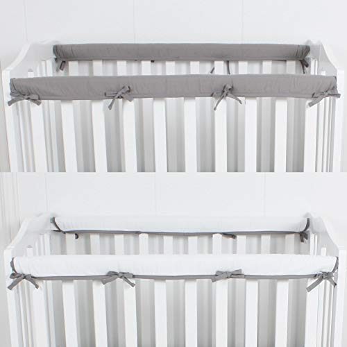 "CaSaJa 2-Piece Mini Crib Rail Cover Set for Long Side Mini Crib Rails 38"", Safe Breathable Padded Batting Inner for Baby Teething Guard, Reversible Long Side Mini Crib Rail Protector Wraps, Grey"