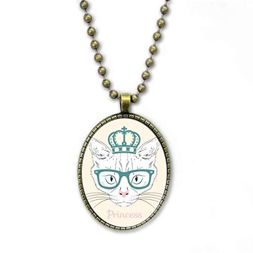 Collar con colgante de corona de cristal de sol blanco con diseño de princesa, cadena vintage
