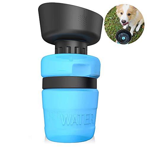 SZRWD Hundetrinkflasche für unterwegs, 520ml Hunde Wasserflasche, Tragbare Haustier Trinkflasche BPA Frei Faltbarer Hunde/Katze Wasserflasche für Haustiere Unterwegs, Reise und Wandern