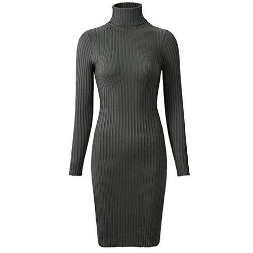 ERLIZHINIAN Damska jesień i zima modna seksowna obcisła sukienka 2019 damska zimowa dzianinowa osłona sweter sukienka z długim rękawem jednolita seksowna mini sukienka (kolor: wojskowa zieleń, rozmiar: Jeden rozmiar)