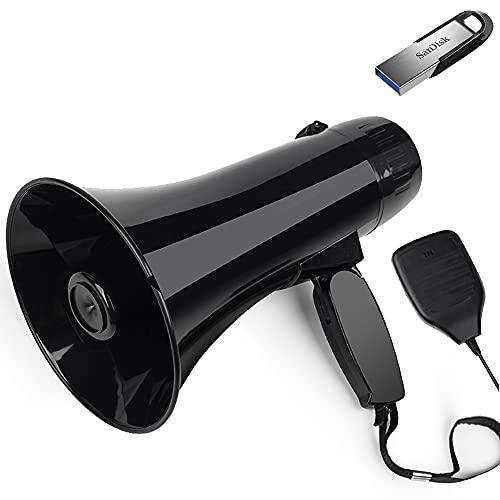 35 Watt Power Portable Megaphone Speaker PA Bullhorn with Detachable Handheld Microphone, Built-in Siren, USB Flash Drive & 240S Recording