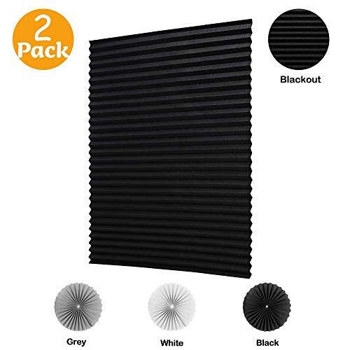 LUCKUP 2 Pack Cordless Blackout Pleated Fabric Shade,Easy to Cut and Install, with 4 Clips (36'x72' - 2 Pack, Black)