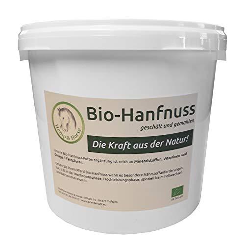 Hemp & Horse Reine Bio Pferde Hanfnuss/Hanfsamen Futtermittelzusatz geschält frisch geschrotet im 2 kg Eimer