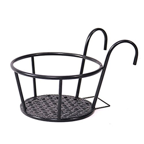 Support de plante suspendue de fer, noir Bold Pot Pot Frame Balustrade de balcon Outdoor forte capacité de roulement Creative Design (Couleur : Noir)