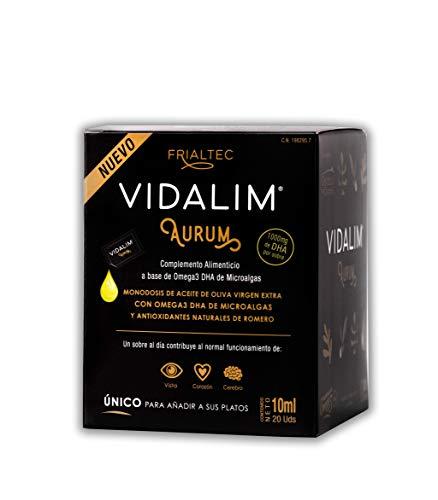 Vidalim Aurum - Omega 3 de microalgas (1000mg DHA/sobre) en Aceite de Oliva. Sin cápsulas