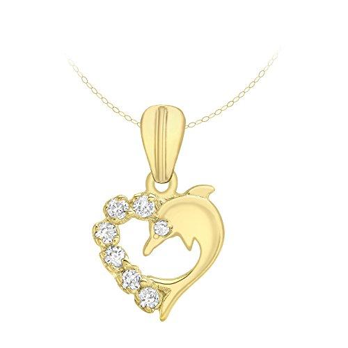 Carissima Gold Collana con Pendente da Donna in Oro Giallo 9K (375) con Diamante