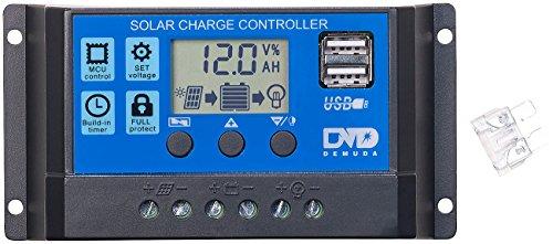 reVolt Solar Laderegler 12V: Solar-Laderegler für 12/24-V-Akkus, PWM-Lademodus, 2 USB-Ports, 10 A (Solar Controller)
