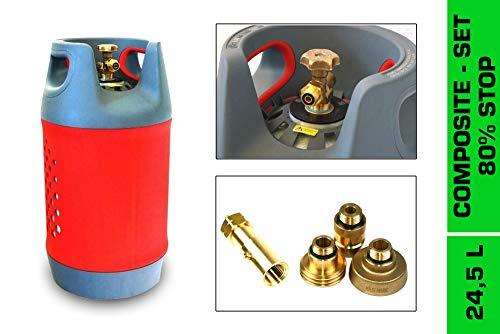 Drehmeister Komposit Tankflasche 24,5L inkl. 80% Füllstopventil (OPD) & Tankadapter im Etui - Gasflasche wiederbefüllbar, befüllbare Propangasflasche für Wohnmobil, Caravan, Camping