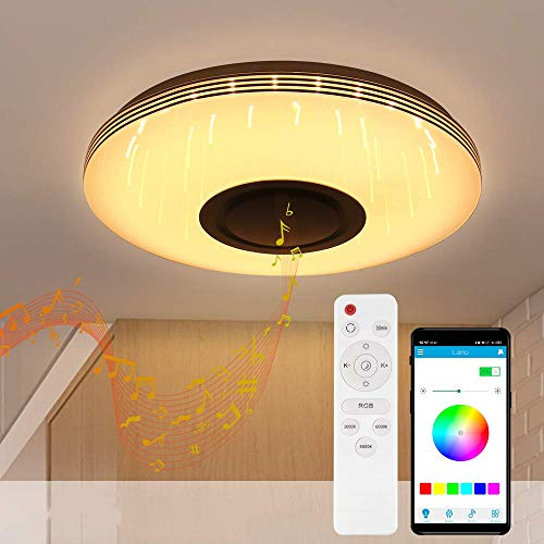 Wovatech LED-Deckenleuchte, Musik, 36 W, 3200 Lumen, moderne Musik, dimmbar, mit Bluetooth-Lautsprecher, Beleuchtung mit Farbwechsel, für Wohnzimmer