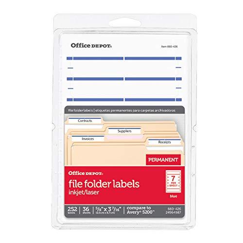 Office Depot Print-Or-Write Color Permanent Inkjet/Laser File Folder Labels, 5/8in x 3 1/2in, Dark Blue, 252 pk, OD98817